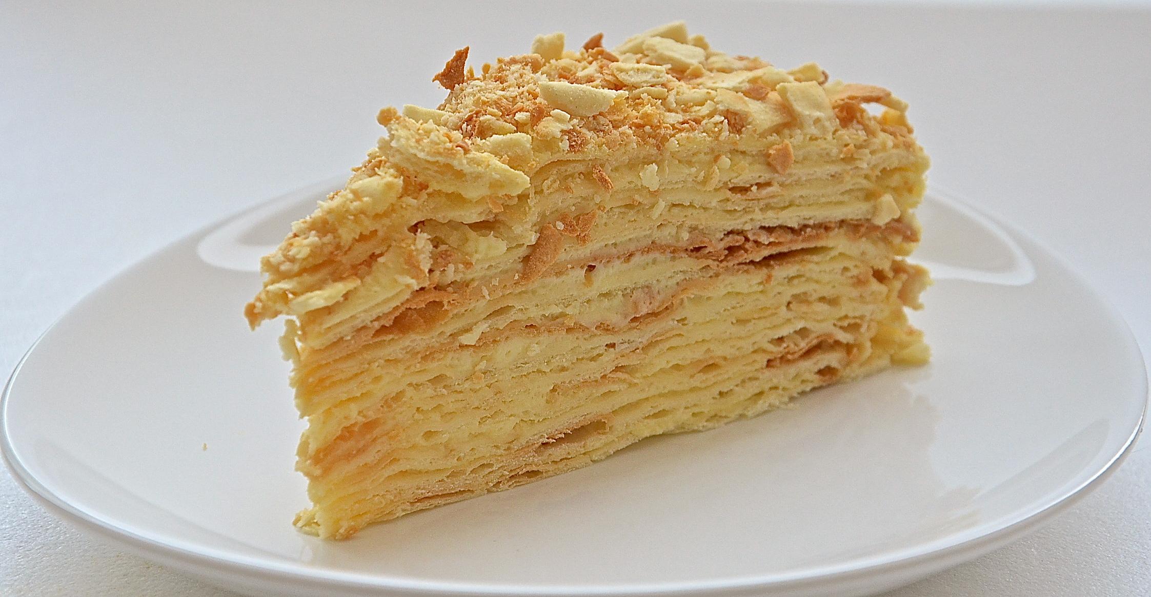 Торт Наполеон (тесто на масле и сливках)