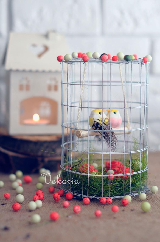 Весенняя композиция для интерьера. «Птички в клетке»